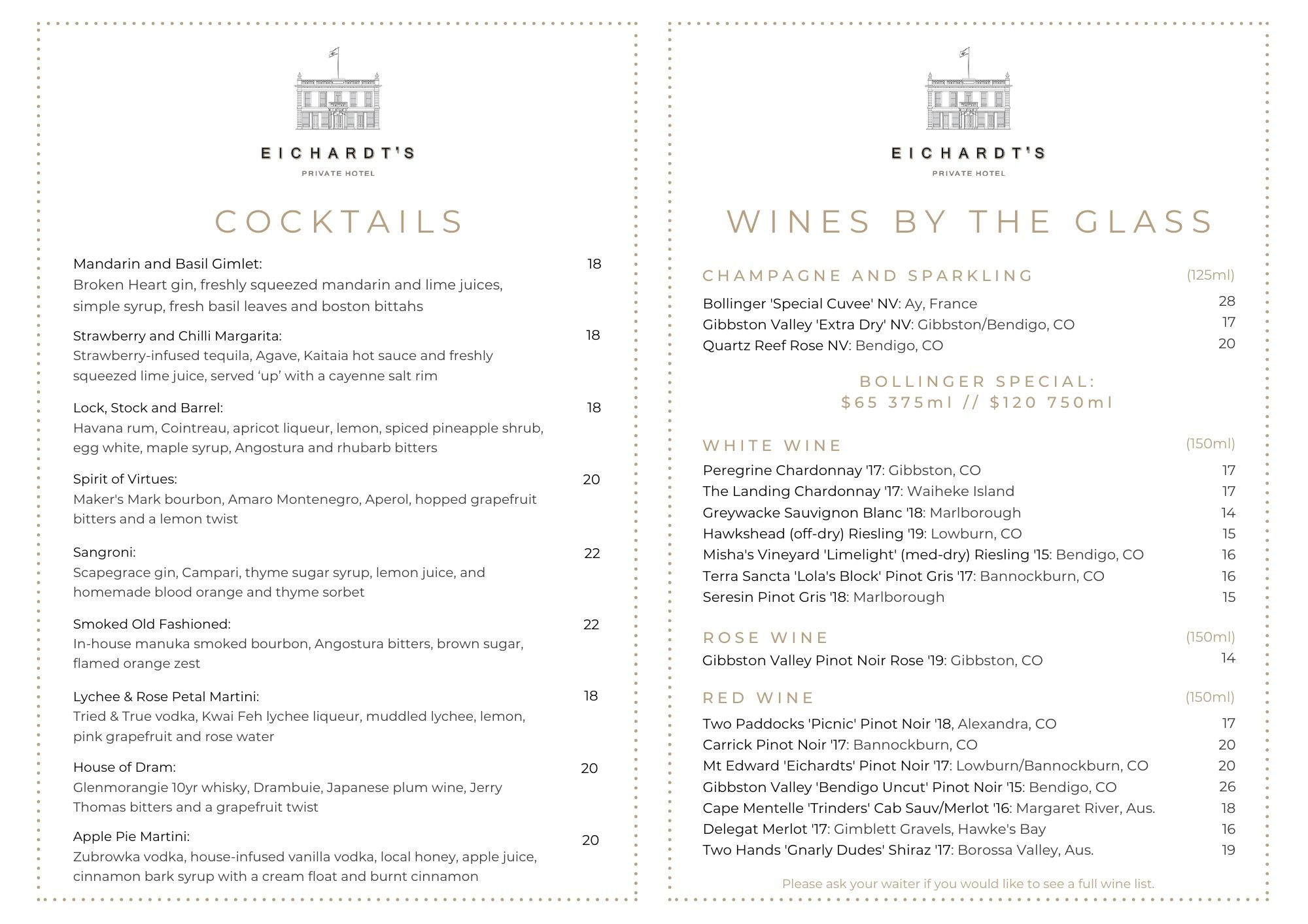 Eichardt's Bar: Tapas Menu